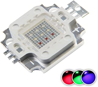 Chanzon High Power Led Chip 10W RGB Common Anode (300mA-350mA for Each Color) Multicolor Super Bright Intensity SMD COB 10 Watt Light Emitter Components Diode 10 W Bulb Lamp Beads DIY Lighting