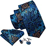 Barry.Wang Solid Blue Silk Ties Floral Necktie Set with Handkerchief Cufflinks