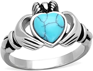 Women's Turquoise Stainless Steel Irish Claddagh Promise Friendship Ring Band Size 5-10