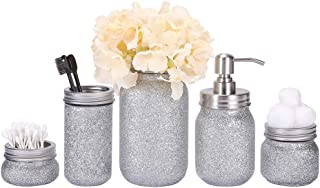 Quotidian Glitter Mason Jar Bathroom Set 5 Piece with Soap Dispenser,Flower Vase, Toothbrush Holder for Wedding House Decor Countertop and Vanity Organizer Bathroom Accessory Sets (Silver)