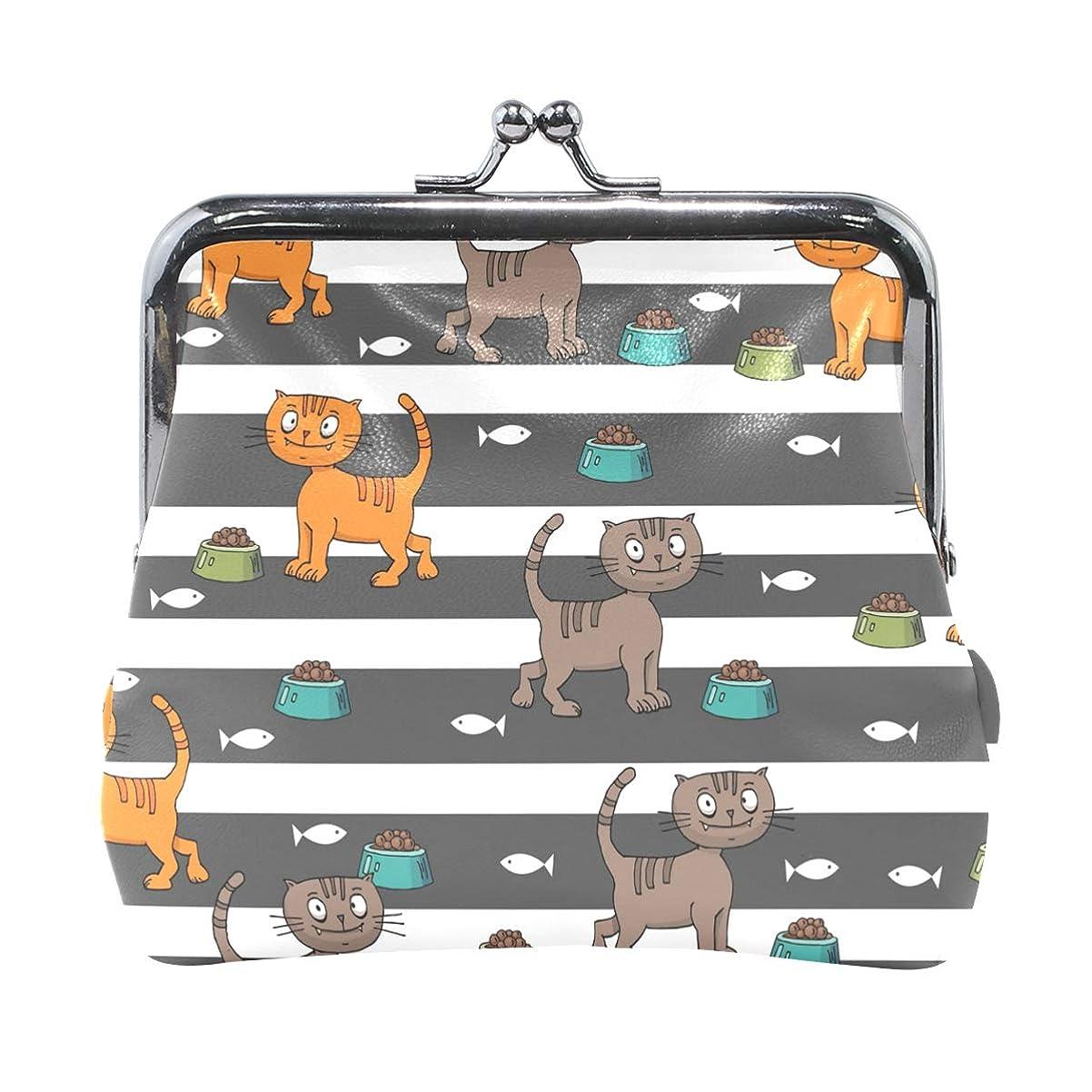等しい繰り返す一回がま口 財布 口金 小銭入れ ポーチ 猫 ストライプ 可愛い ANNSIN バッグ かわいい 高級レザー レディース プレゼント ほど良いサイズ