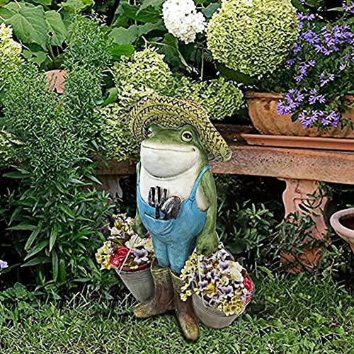 Owls-Yard Frog Garden Statue-squisita resina resistente alla ruggine, cesti per cortile, rana, piante grasse per la decorazione del giardino all'aperto (stile A)