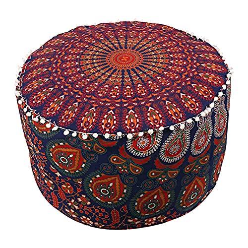 Rajasthaniartdecor Indian Mandala Pouf Ottoman Cotton Floor Pillow Hippie Boho Decorative Home Decor Footstool Cover Bohemian Multi Coloured Size 14 H. x 22 Dia. (Inches)