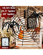 Giant Spider Web Halloween Spider Decorations, 2 Large Hairy Spiders, Super Stretch Cobweb, Spooky Spider Webbing for Outdoor Yard Haunted House Halloween Party Decor (10.5 ft Black Spider Web Set)