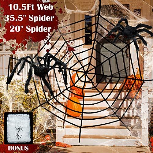 Red Gigante de Araña de Halloween Araña Grande Araña Pequeño Telaraña Elástica Decoración de Tela de Araña para Halloween Decoración de Patio al Aire Libre Decoración de Casa Embrujada (Estilo C)