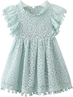 a557415b9 ARAUS Niñas Vestido de Encaje Falda de Princesa con Borlas Manga Corta de  Volantes