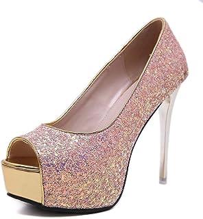 Sequined Heeled Shoes Waterproof Platform Super High Heel Women Shoes