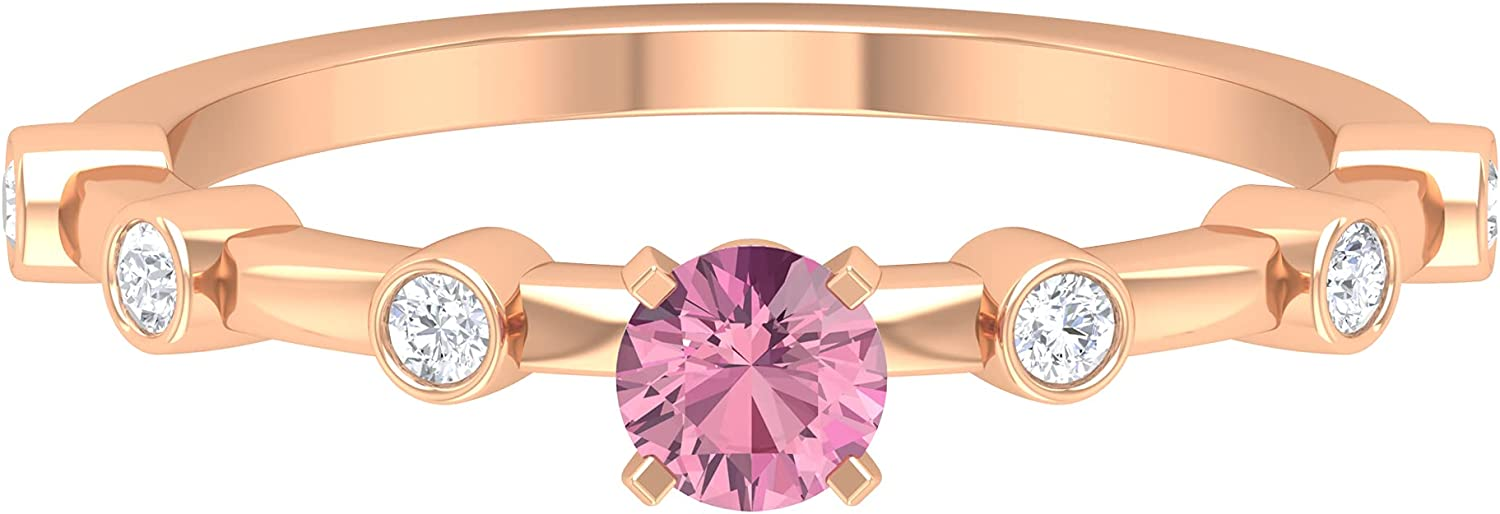 1/2 CT Pink Tourmaline Solitaire Promise Ring with Diamond Side
