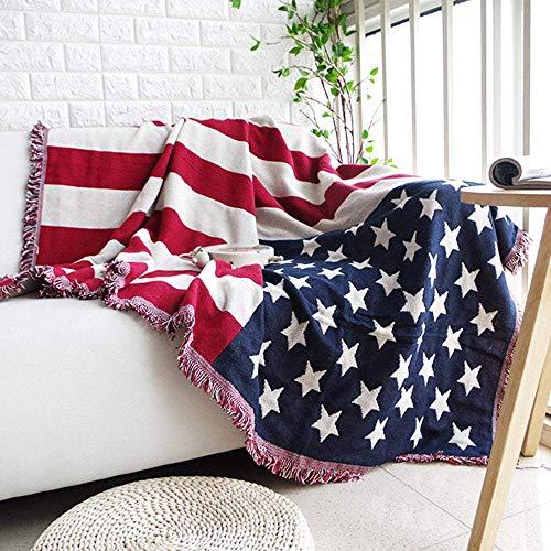 Baumwollsofadecke, staubdichter Bezug, Britische Reisfahne Amerikanische Star and Strip Fahne Full Cover Pad Dick, rutschfest, B-180x230cm