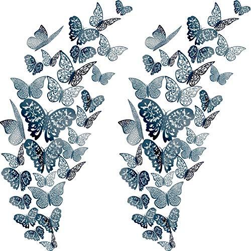 72 Stück 3D Schmetterling Wandtattoos Aufkleber Wandtattoo Dekor Kunst Dekorationen Aufkleber Set 3 Größen for Zimmer Startseite Kindergarten Klassenzimmer Büros Kind Mädchen Jungen Schlafzimmer Badez