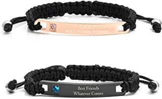 Custom Engraving Matching Couples Relationship Promise Rope Braided Adjustable Bracelets Personalized Bracelet for Couples His and Hers