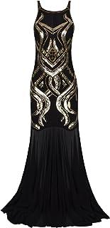 VIJIV Women`s 1920s Beaded Straps A-Line Floor Length Gatsby Prom Evening Dress