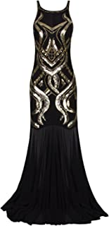 Women's 1920s Beaded Straps A-Line Floor Length Gatsby Prom Evening Dress