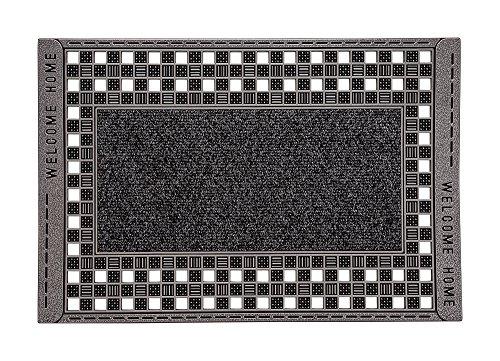 CarFashion 282150 Pur|GridClean XL - Outdoor Fussmatte -Großer Fussabtreter - Schmutzfangmatte - Eingangsmatte für Innen und Aussen - Sauberlaufmatte - Anthrazit-Metallic Oberfläche - ca. 70 x 46 cm