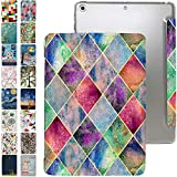 iPad 10.2 Case 2020 iPad 8th / 2019 iPad 7th Generation with Slim Fit Dual-Angel Stand & Hard PC Clear Back[Protective Smart Cover]for 10.2' iPad 8 / iPad 7 Gen [Auto Sleep/Wake]- Printed Diamond Grid