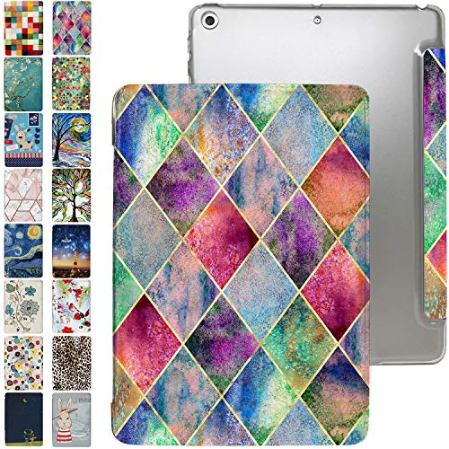 iPad PRO 11 Case 2018 1st Generation with Slim Fit Dual-Angel Stand & Hard PC Clear Back [Protective Smart Cover] for PRO 11' 1 Gen [Auto Sleep/Wake] - Printed Diamond Grid
