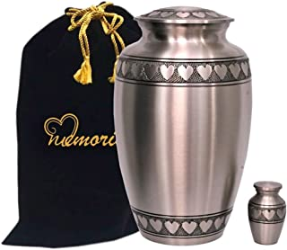 MEMORIALS 4U Classic Pewter with Heart Band Cremation Urn - 100% Handcrafted Large Pewter Heart Urn - Solid Brass Affordable Pewter Urn for Human Ashes - Adult Funeral Urn Deal with Free Keepsake