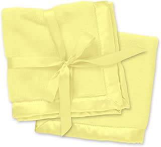 2 Yellow Security Blankets, Baby Blankie Small Mini Blanket, 15 Inches x 15 Inches, Set of 2, Satin Trim, 2 Pack