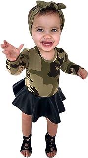 HUYB ワンピース ドレス 女の子 ガールズ 子供服 プリンセス迷彩 2点セットドレス おしゃれ 出産祝い 誕生日 結婚式 3-7歳