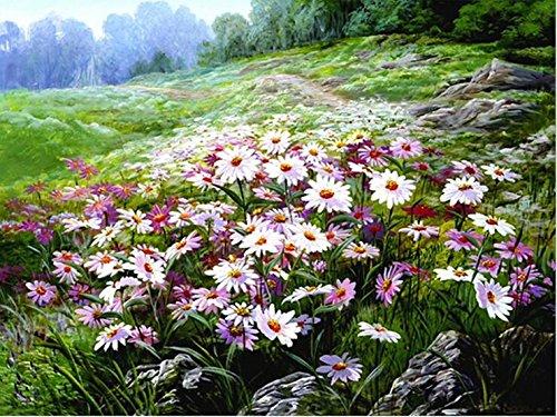 Queenlink complète Collez-le DIY carré Diamant Broderie peintures Strass Croix Fleurs Forrest