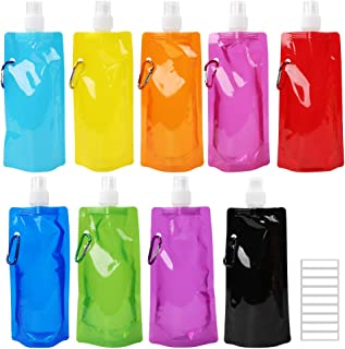 Tomnk 9pcs Collapsible Water Bottle Reusable Canteen Foldable Drinking Water Bottle with Clip for Biking, Hiking Travel, 9 Colors