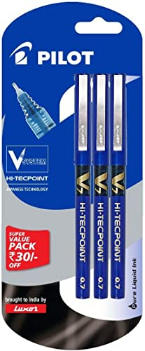 Pilot V7 Liquid Ink Roller Ball Pen - Blue Body, Blue Ink (Pack of 3) product image