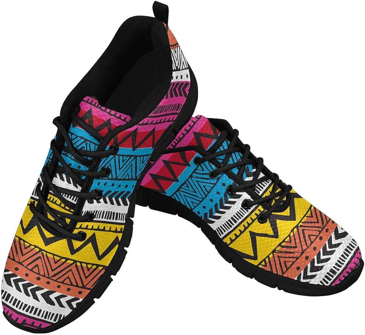 INTERESTPRINT Geometric Native American Women's Walking Shoes Lightweight Casual Running Sneakers