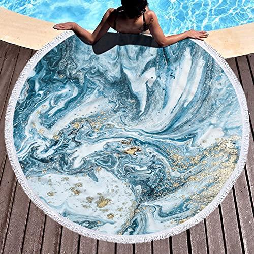 Serie De Toallas De Playa Redondas, Patrón De Impresión Digital, Tapete De Playa De Microfibra, Tapete De Picnic, Manta De Playa Anti-Arena De Secado Rápido 150 * 150cm