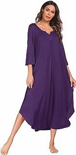 Ekouaer Sleepwear Cotton Short Sleeve Lounger midi Nightgowns for Women