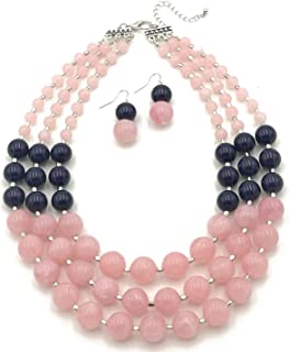 Elegant 3-Row Layered Handmade Acrylic Glass Pearl Stone-Simulated Beaded Necklace Earrings Set