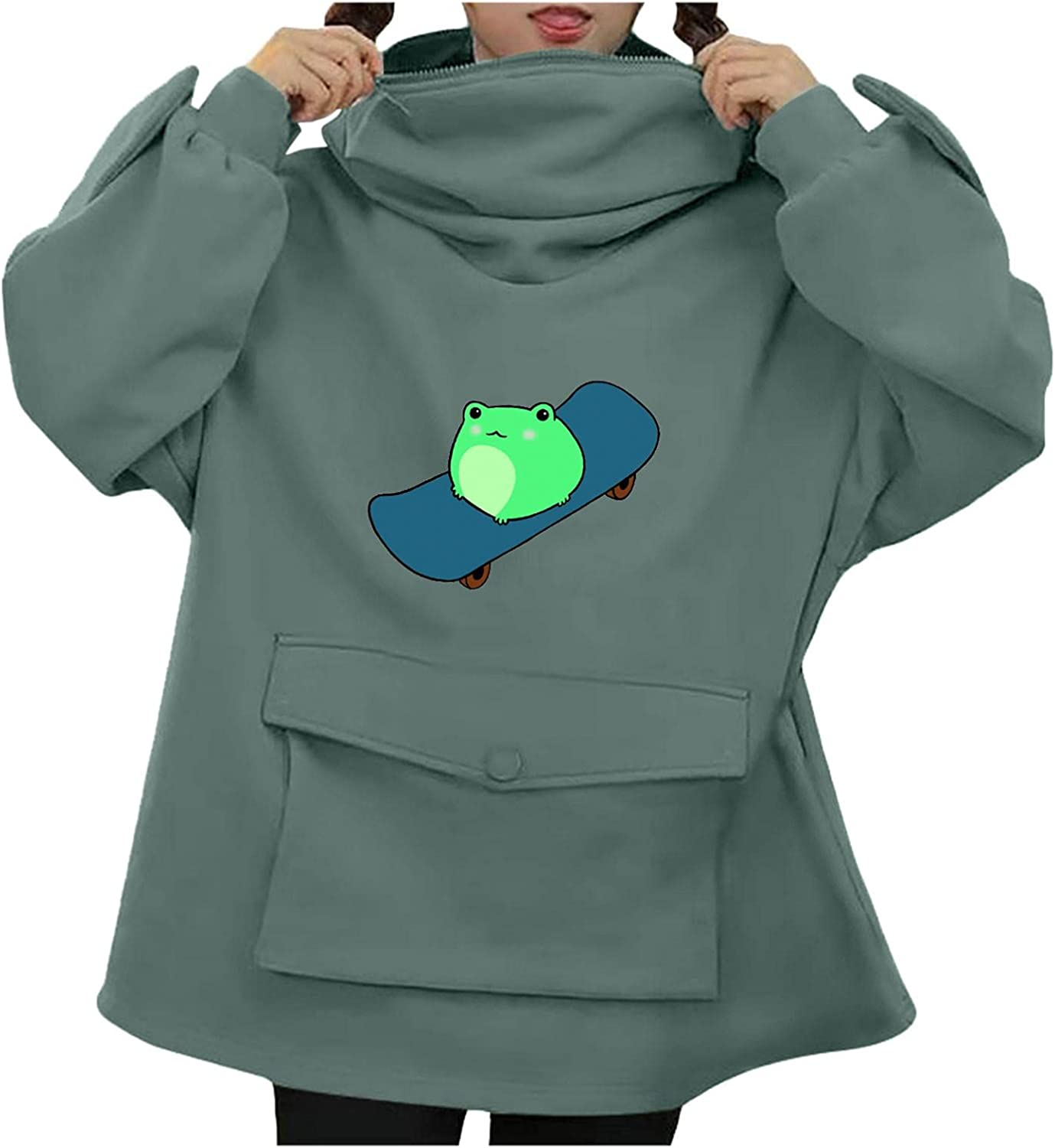 Haheyrte Cute Hoodies for Women Stitching Cute Cartoon Frog Long Sleeve With Pockets Sweatershirts Casual Tops Sweaters