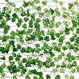 Elezenioc 12 STK Künstliche Pflanze Efeu,2.1M 80 Stücke Blätter Efeuranke Künstliche,Künstlich Pflanzen Efeu Hängend Girlande für Wanddekoration Indie Room Balkon Deko,Hochzeit Garten Dekorationen