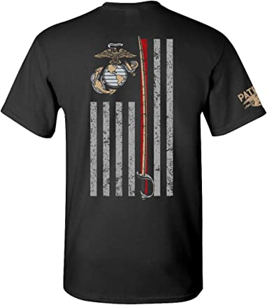 Patriot Apparel Thin Line USMC Marine Corps T-Shirt Tee Black 15a54ab54