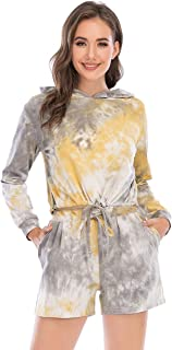 Women's Tie-Dye Tracksuit Athletic Sports Outfit Shorts Set Long Sleeve Pullover Hoodie Top with Drawstring Sportswear
