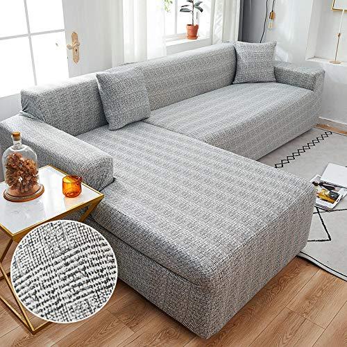 B/H Elegante Tejido Funda de sofá,Funda de sofá elástica para Esquina de Sala de Estar en Forma de L Longue Sofa Slipcover-2_2seater_and_3seater,Funda de Sofá Elástica Material