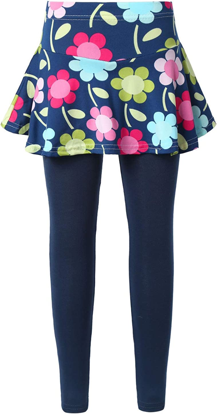 Jowowha Kids Girls High Waist Leggings Floral Print A-line Skirtpants Athletic Exercise Yoga Footless Trousers Navy Sunflower 10