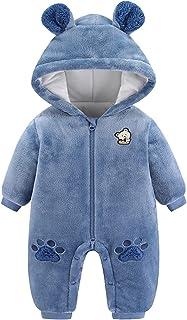 طفل الفتيان الفتيات رومبير الشتاء طفل الكرتون الدب مقنعين snowsuit الصوف بذلة ملابس الأطفال (Color : Blue, Size : 0-3 Months)