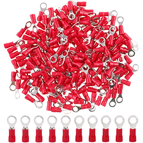 Hilitchi 100pcs 22-16 Gauge Ring Insulated Electrical Wire Terminals Wire Crimp Connectors (M5, Red)