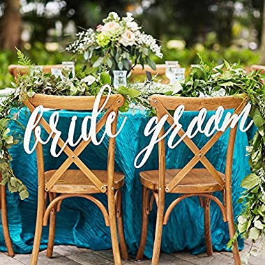 Wedding Bride and Groom Chair Signs in White, Hanging Chair Sign Wooden Wedding Signs Bride & Groom Large Calligraphy Signs, Custom Colors or White