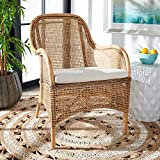 Safavieh Home Collection Charlie Dark Natural Rattan Cushion Accent Chair, White Washed/White