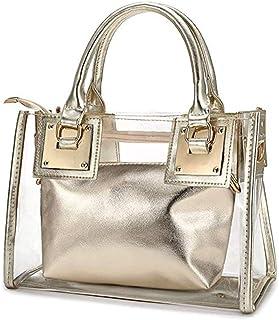 AlwaySky Damenmode Transparente Tasche 2 in 1 Handtasche Top Griff Tote Schulter Crossbody Tasche