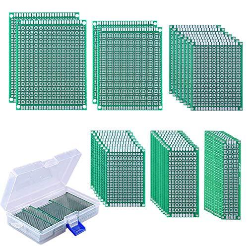 AUSTOR 40 Piezas Placas Circuito Impreso 6 Tamaños PCB Prototipo de Doble Cara con Caja...