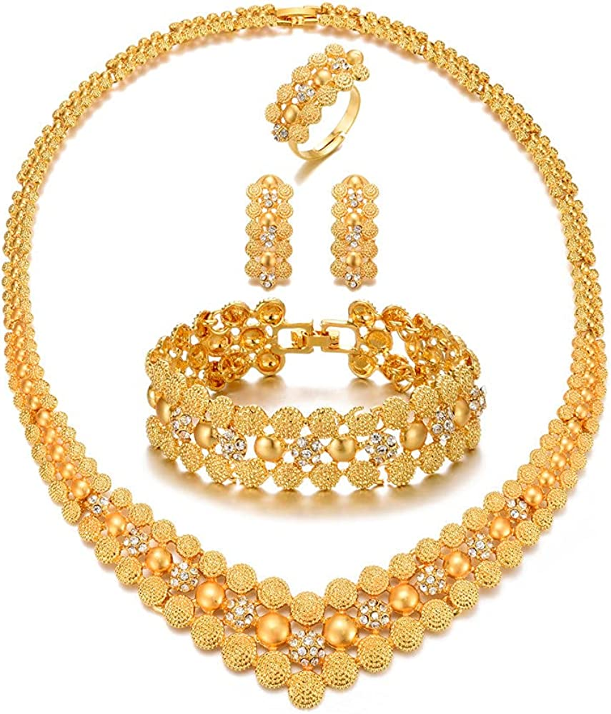 Luxury 24K Gold Plated Diamond Jewelry Sets for Women African Wedding Enagement Gifts Party Jewelry Sets