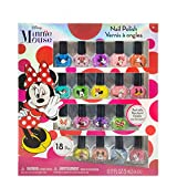 Townley Girl Disney Minnie Mouse Non-Toxic Peel-Off Nail Polish Set for Girls, Glittery and Opaque Colors, Ages 3+ - 18 Pack