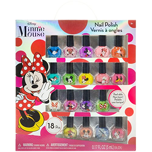 Townley Girl Disney Minnie Mouse NonToxic PeelOff Nail Polish Set for Girls Glittery and Opaque Colors Ages 3  18 Pack
