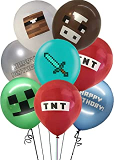 """35pcs minecraft party supplier Balloons set 12"""" Latex Balloons for Pixel style fans party supplies Kids Baby Shower Birthd..."""