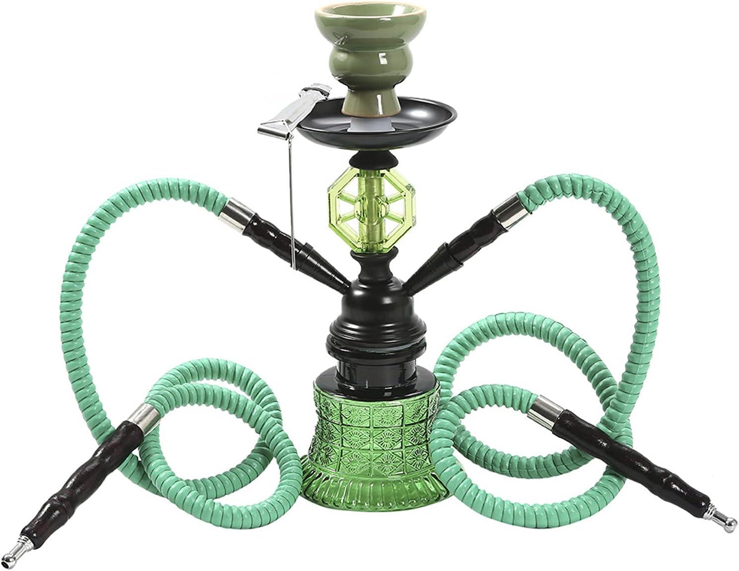 Hookah Shisha Set Set Tubería de Agua Conjunto de Fumadores, Hookah portátil Set 2 Hose Silicone Hookah Kit Complete Kit Completo Hookah para el hogar y el Uso de la Green