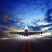 CSFOTO 8x8ft Background for Aircraft Take Off Urban Airport Runways Sunset Photography Backdrop Jet Plane Arrival Close-up Flying Travel Fast Passenger Photo Studio Props Vinyl Wallpaper