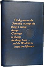 Culver Enterprises Alcoholics Anonymous AA Big Book LARGE PRINT Cover Serenity Prayer Medallion Holder BLUE