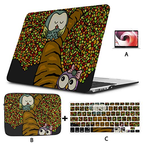 Macbook Pro Laptop Couple Owls On Colorful Tree Macbook Pro Laptop Case Hard Shell Mac Air 11'/13' Pro 13'/15'/16' With Notebook Sleeve Bag For Macbook 2008-2020 Version